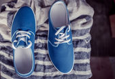 Men's blue loafers, masculine style — Stock Photo