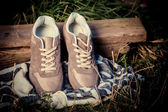 Brown sneakers, men's shoes — Stock Photo