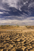 Cloudy Blue Sky Above Parched Barren Land In Morocco — Stock Photo