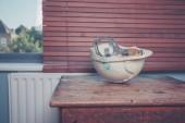 Safety helmet on table — Stock Photo