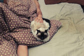 Woman and cat in bed — Stock Photo