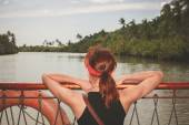 Young woman on river cruise — Stock Photo
