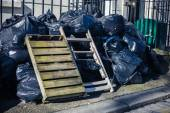 Bags of rubbish in the street — Stock Photo