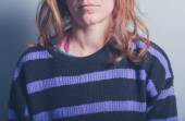 Young woman in a stripey jumper — Stock Photo