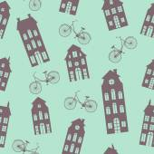 Amsterdam houses and bicycles  pattern — Stockvektor