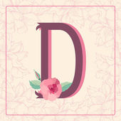 Letter D with rose flowers — Stock Vector