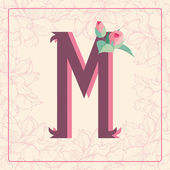 Letter M with rose flowers — Stock Vector