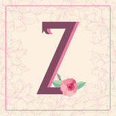 Letter Z with rose flowers — Stock Vector