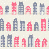 Amsterdam houses silhouettes in winter. — Stockvektor