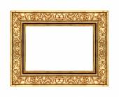 Vintage gold rose frame isolated on white background and clipping path — Stockfoto