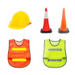 Yellow safety helmet , Traffic cone - barricade warning cones , — Stock Photo #57194549