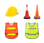 Yellow safety helmet , Traffic cone - barricade warning cones ,  — Stock Photo