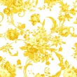 Gold rose on white fabric background, Fragment of colorful retro — Stock Photo #61231149