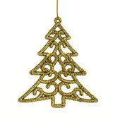 Christmas pine & Accessories, hanging over white  background. — Stockfoto