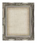 Old golden frame with empty grunge linen canvas for your picture — Stock Photo