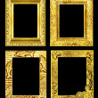 Set 4 antique golden frame isolated on black background, clippin — Stock Photo #75987883