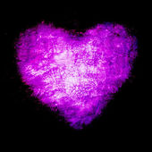 Grunge frame , heart shape purple color, Valentines Day — Stock Photo