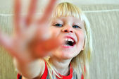 Baby with a long blonde hair — Stock Photo