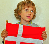 Boy with a flag of Denmark — Stock Photo