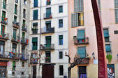 Barcelona homes, old town — Stock Photo