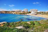Golden beach, Malta, Mediterranean sea — Stock Photo