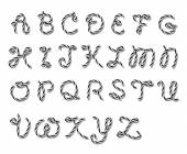 Alphabet in twine style — Stock Vector