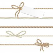 Collection of ribbons ahd bows in rope style — Stock Vector