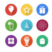 Birthday party icons set — Stock Vector