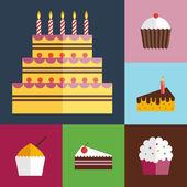 Birthday cupcakes icons set — Stock Vector