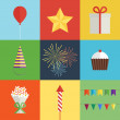 Birthday party icons set — Stock Vector #60896189