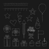 Chalk birthday party icons set — Stock Vector