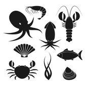 Seafood icons set — Stock Vector