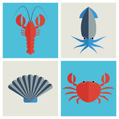 Conjunto de ícones de frutos do mar — Vetor de Stock