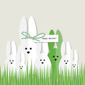 Easter bunnies greeting card — Stock Vector