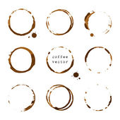 Coffee round stains and blots — Stock Vector