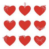 Serca z piekarzy sznurek taśmy i łuki — Wektor stockowy