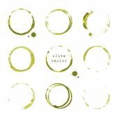 Olive round stains and blots — Stock Vector