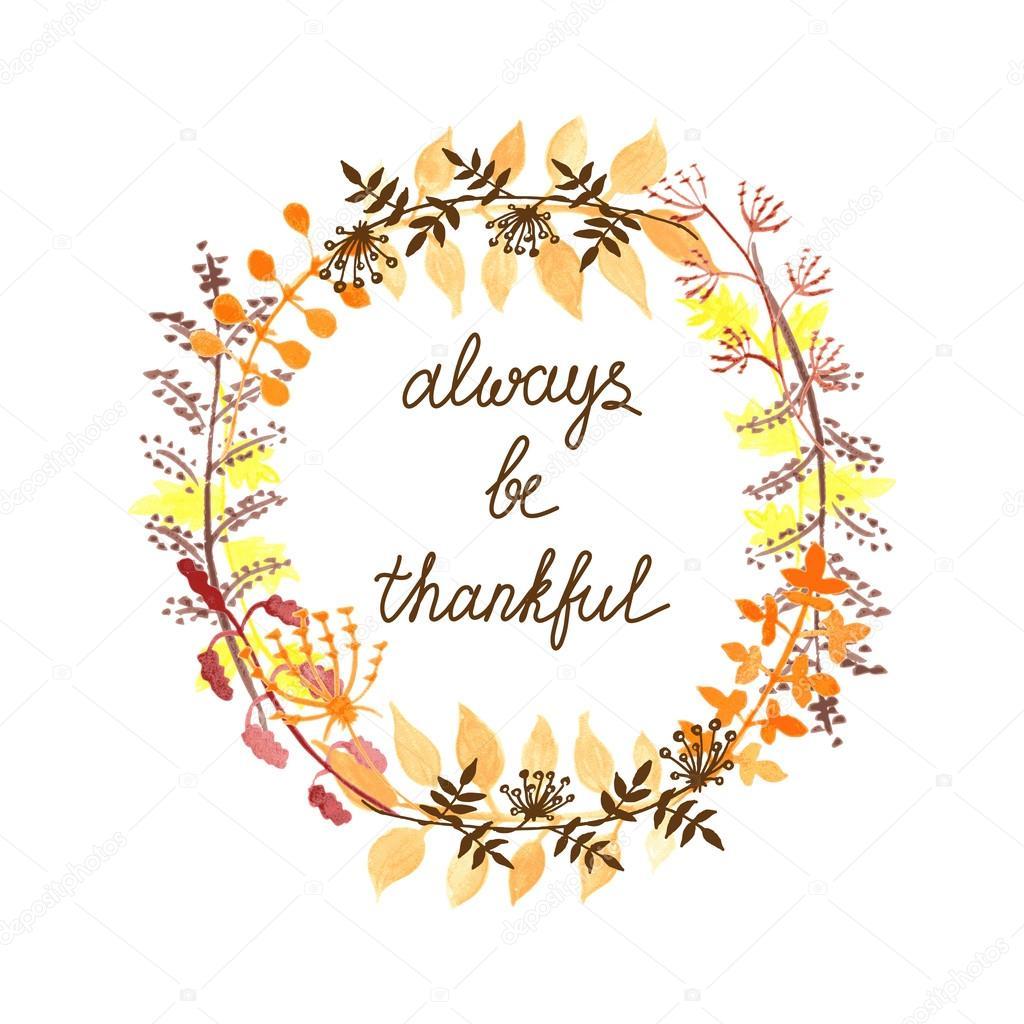 秋季贺卡与水彩的花环和感激题字