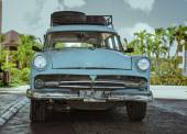 Closeup view of vintage classic retro car standing on the road — Stock Photo