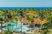 Charming, gorgeous amazing view of Cuban Cayo Guillermo island tropical resort with people in background on sunny warm day — 图库照片