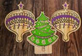 Closeup view of Christmas Holiday ornaments on old vintage retro classic wood background — Stock Photo