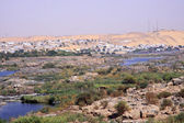 Branches of the Nile River behind the dam of Aswan Egypt — Stock Photo
