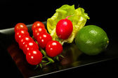 Lettuce, lime and tomato — Stock Photo