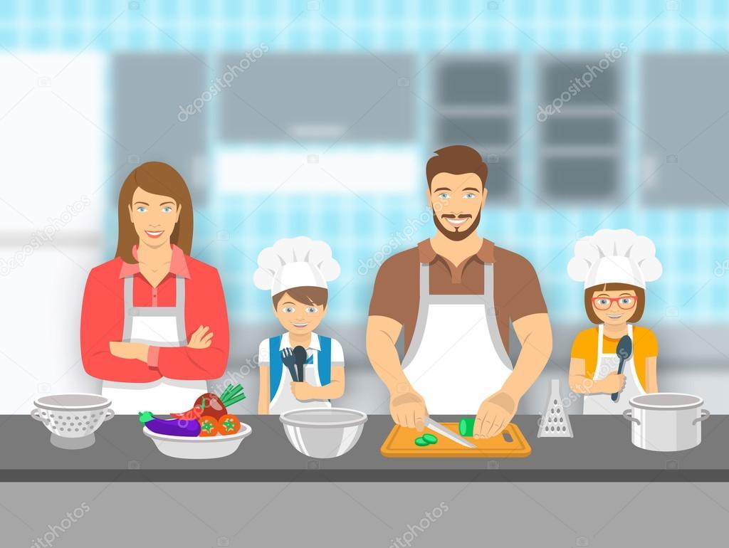 Familia con ni os cocinar juntos en ilustraci n plana de for Cocinar imagenes animadas