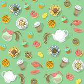 Coffee and Tea Pattern — Stock Vector