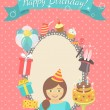 Happy Birthday Card for Girl — Vector de stock  #56424921