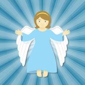 飞行的圣诞天使,张开双臂 — 图库矢量图片