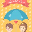 Boy and girl in love under an umbrella in the rain — Stock Vector #60196759