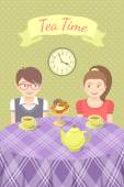Couple in love drinking tea — Stock Vector