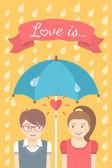 Boy and girl in love under an umbrella in the rain — Stockvektor